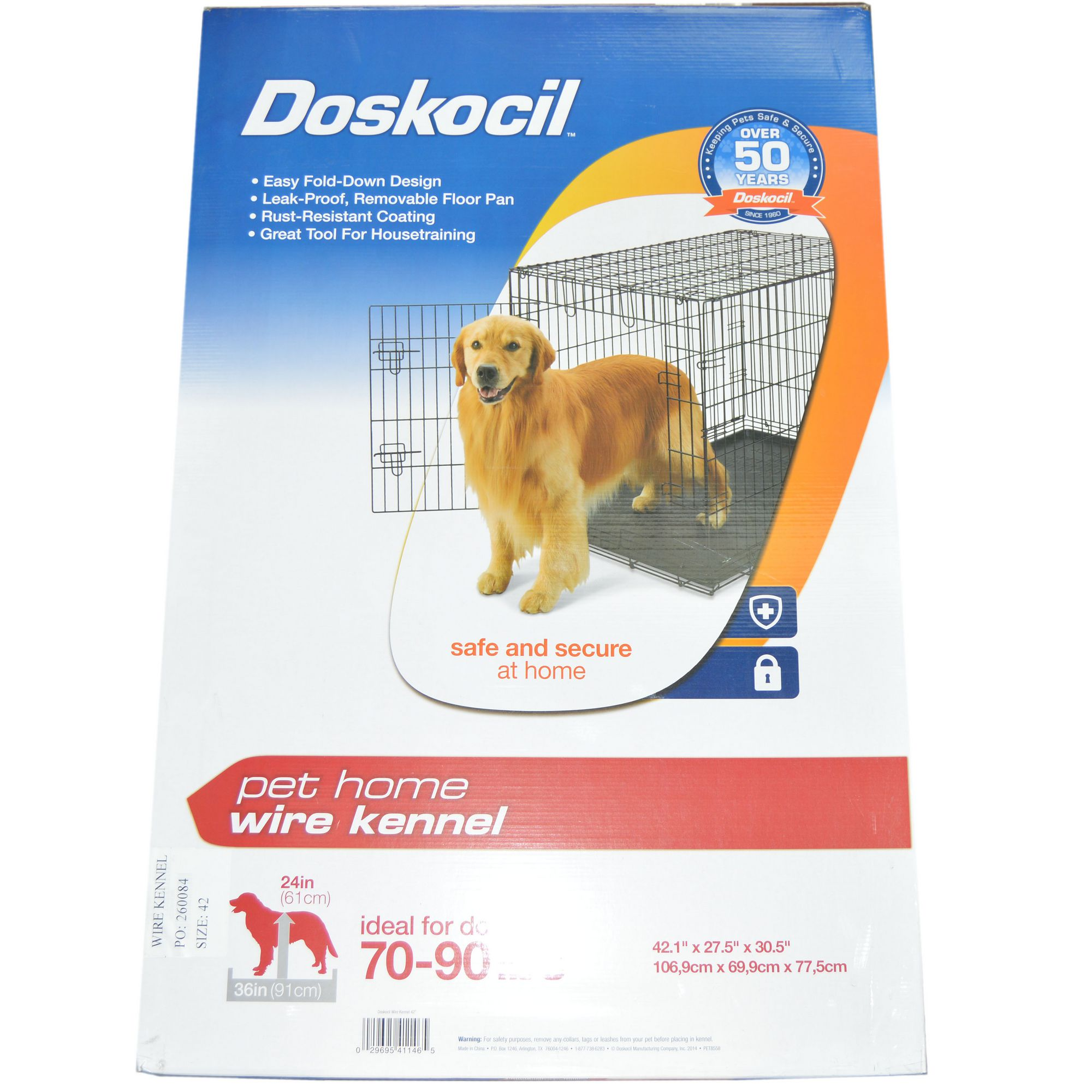 Doskocil Collapsible Dog Wire Metal Kennel/Crate 42.1 x 27.5 x 30.5 ...